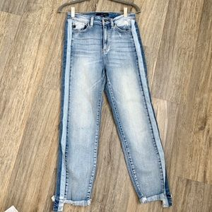 Pants - Light washed denim jeans with dark blue lining